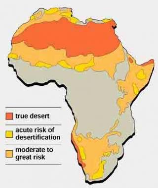 Kuva 2. Kuivuuden uhkaamat alueet Afrikassa keltaisella ja oranssilla merkattuna.