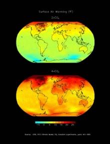 Kuva 1. Ilmaston lämpeneminen, jos hiilidioksidipitoisuudet kaksin- tai nelinkertaistuvat.